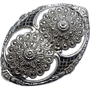 Vintage Sterling Silver Marcasite Filigree Brooch Pin  Floral Art Deco
