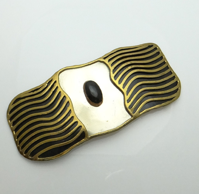Huge Mexican  Mixed Metal Numbered Onyx Abstract Modernistic Belt Buckle Signed