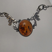 Vintage Sterling Silver  Amber Necklace JUST REDUCED!