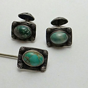Early Vintage Native American Indian Cuff Links Stick Pin Set