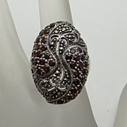 Sterling Silver Marcasite MT Garnet Big Face Ring