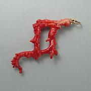 Huge Vintage Kenneth J Lane KJL Faux Branch Coral Necklace Pendant