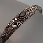 Fancy Vintage Sterling Silver Garnet Cuff Bracelet