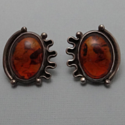 Vintage Abstract Modernist Sterling Silver Amber Earrings