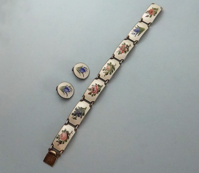Vintage Mid-Century Norwegian Gilt Sterling Silver Guilloche Enamel Floral Bracelet Earrings Set JUST REDUCED!