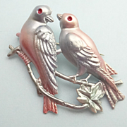 Large Vintage Love Bird Figural Pin