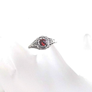 Vintage  Sterling Silver Filigree Garnet Ring