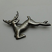 Vintage Mexican Early Deer Reindeer Sterling Silver Figural Pin