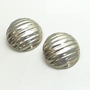 Large Mexican Sterling Silver Ridged Button Earrings Modernist