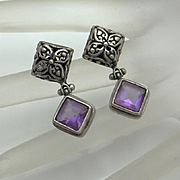 Vintage Sterling Silver Amethyst Bali Earrings