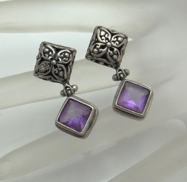 Vintage Sterling Silver Amethyst Bali Earrings