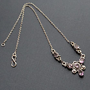 Vintage Sterling Silver Amethyst Necklace
