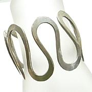 Wide Vintage Sterling Silver Hand Made Artisan Modernist Bracelet