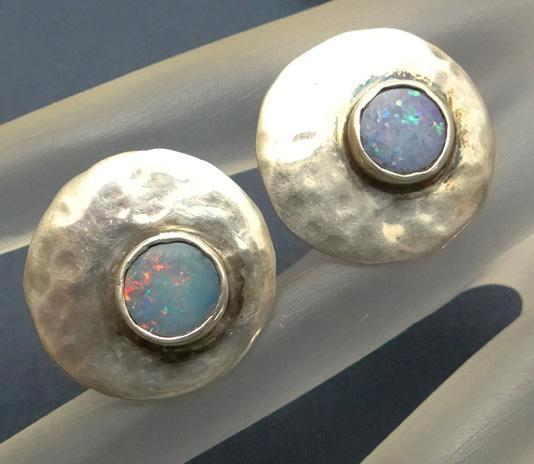 Modernist Roxanne Marden Artisan Sterling Silver Synthetic Opal Screw On Earrings