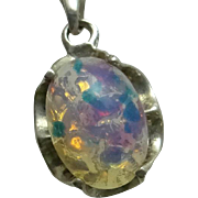 Vintage Sterling Silver Opal Art Glass Sterling Silver Pendant Necklace