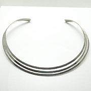 Sterling Silver Modernist Collar Necklace