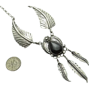 Large Sterling Silver Onyx Feather Necklace Navajo Indian Begay