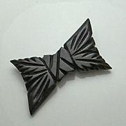 Large Vintage Carved Black Bakelite Bow Pin