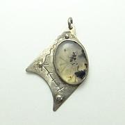 Unique Sterling Silver Moss Agate Pendant