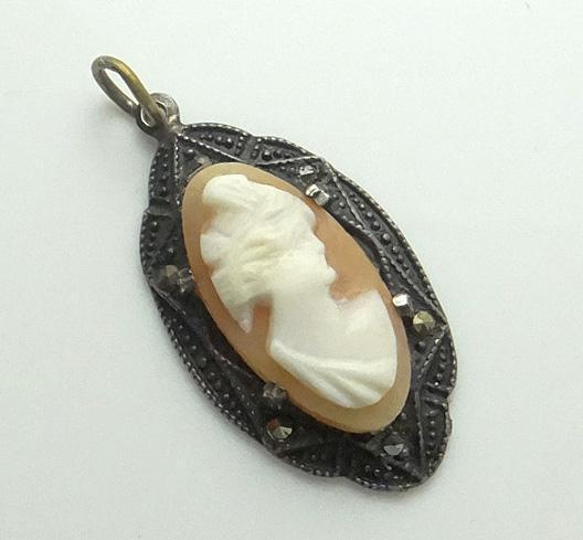 Sterling Silver Art Deco Marcasite Cameo Pendant JUST REDUCED!