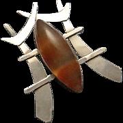 Huge Sterling Silver Banded Agate Oriental Brooch Pin