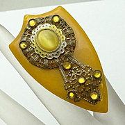 Vintage Fancy Bakelite Filigree Glass Stone Dress Clip