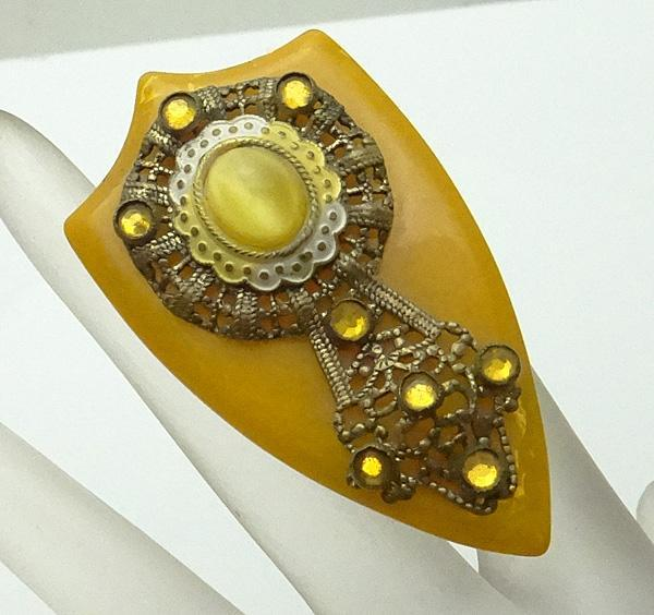Vintage Fancy Bakelite Filigree Glass Stone Dress Clip JUST REDUCED!