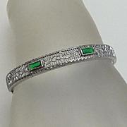 Vintage Filigree Green Glass Marathon Child's Bracelet
