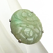 Vintage Sterling Silver Carved Jade Ring