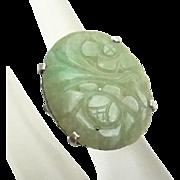 Vintage Sterling Silver Carved Jade Ring