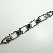Antique Art Nouveau Sterling Silver Cobalt Glass  Flower Bracelet