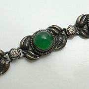Vintage Art Nouveau Sterling Silver Chrysophase Flower Bracelet