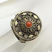 Vintage Israel Coral Silver 835 Gold Wash Filigree Ring