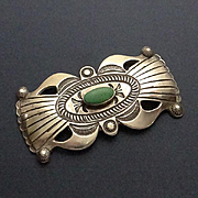 Large Navajo Indian Turquoise Sterling Siver Pin Brooch LEB Linberg Eva Bilah