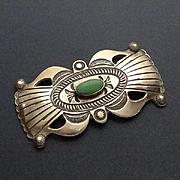 Large Navajo Indian Turquoise Sterling Siver Pin Brooch LEB Linberg Eva Bilah