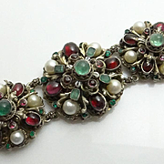 Exquisite Antique Austro Hungarian Silver EMERALD , Garnet , Cultured Pearl 800 Silver Bracelet