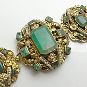 Rare Austro Hungarian Approx. 18 Carats  Emerald 800 Silver Seed Pearl Bracelet