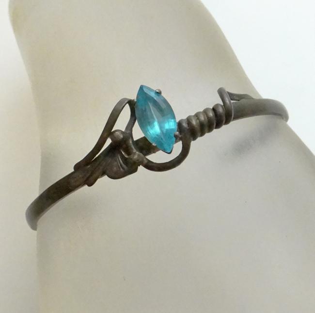 Unique Sterling Silver Les Baker Blue Topaz Cuff Bracelet