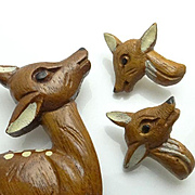 Large Vintage Wooden Reindeer Deer Pin and Earring Set