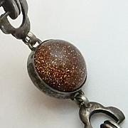 Vintage  800 Silver  Goldstone Bracelet