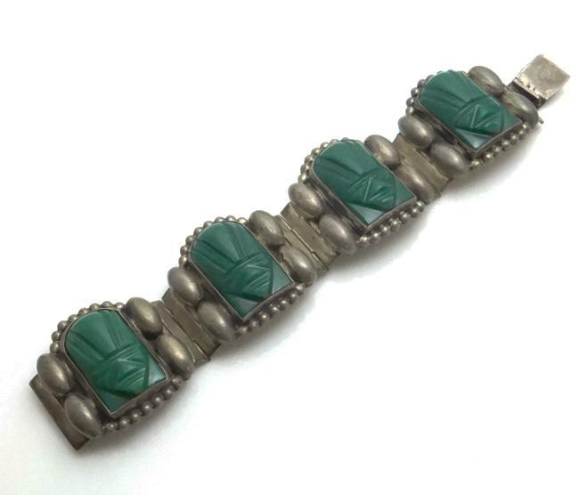 Chunky Vintage Mexican Sterling Silver Onyx Face Bracelet 1940s