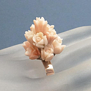 Antique 14k Gold Carved Angel Skin Coral Flower Ring