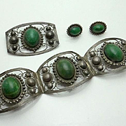 Vintage 1940s Mexican  Green Stone Sterling Silver Bracelet Earrings Pin Parure Set JUST REDUCED!