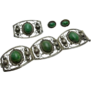 Vintage 1940s Mexican  Green Stone Sterling Silver Bracelet Earrings Pin Parure Set