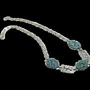 Vintage 1920s Molded Glass Flower Enamel German Necklace JUST REDUCED!