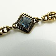 Vintage Gold Filled Link Blue Art Deco  Rhinestone Bracelet - Sturdy