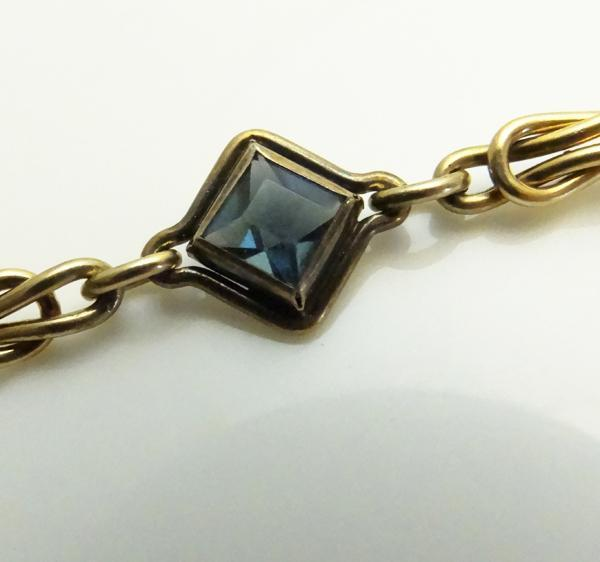 Vintage Gold Filled Link Blue Art Deco  Rhinestone Bracelet  JUST REDUCED!