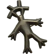 Vintage Sterling Silver Indian Figure Pin