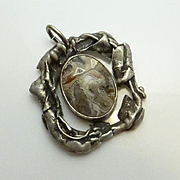 Unique Sterling Silver Gray Crazy Lace Agate Pendant JUST REDUCED!