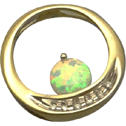 10K Gold Lab Created Opal Diamond Slide Pendant